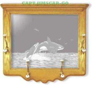Orca Whales Etched Mirror Wildlife Art Framed Coat Rack