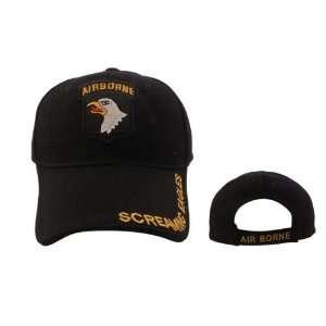 Army Airborne Screaming Eagles BLACK Baseball Cap, Military Hat