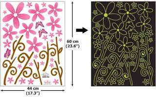 GLOW IN THE DARK Wall Art Deco Sticker FLOWER #306