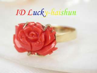 GENUINE NATURE CARVED RED CORAL RING 14K GOLD