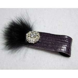 NEW Purple Vintage Hollywood Leather Hair Clip, Limited