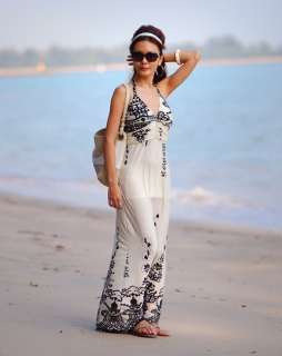 New Ladies Ivory Floral Summer Holiday Beach Party Long Maxi Dress Sz
