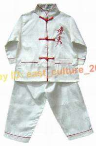 Chinese Boy Kung Fu Shirt Pants Suit White 2 16 BWD 01