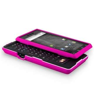 FOR MOTOROLA DROID A855 HOT PINK RUBBER HARD CASE COVER PREMIUM