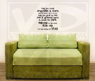 May you grow up with love. . Nursery Quote Wall Decal