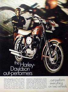 1969 Harley Davidson Sportster 900cc motorcycle AD
