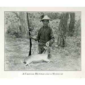 1920 Print Chinese Hunter Muntjac Mastreani Barking Deer Rifle Hunting