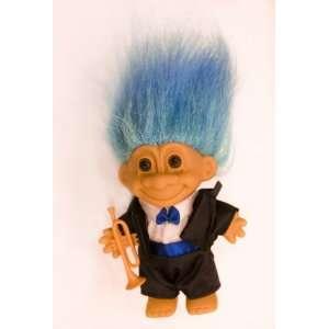 My Lucky JAZZ MUSICIAN Troll Doll w/Trumpet (Blue Hair