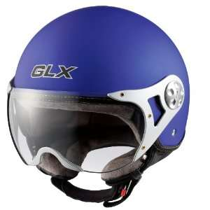 GLX Helmets Matte Blue Small European Open Face Motorcycle