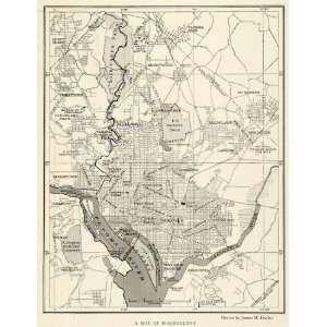 1923 Print Washington D. C. Map Rock Creek Park Potomac