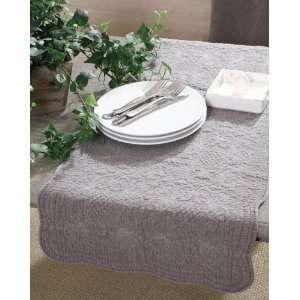 Sandwashed Cotton Quilted Table Runner, Grey