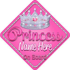 Personalised Baby On Board Car Sign Pink Glass Princess