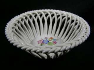 HEREND Open Weave Basket / Bowl   Floral Pattern