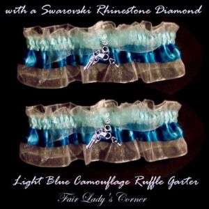 Blue Camo wedding bridal garter party prom handcuffs
