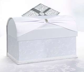 Ivory Sash Embroidered Wedding Card Box Holder   Wishing Well