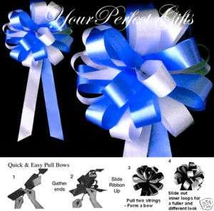 ROYAL BLUE WHITE WEDDING 8 PEW BOWS BRIDAL SHOWER CAKE