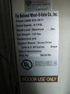 Industrial Indoor Accessibility Lift by National Wheel O Vator 750 LBS