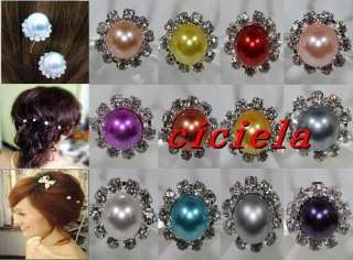 10/20pcs White Crystal Wedding Party Bridal Glass Pearl Hair Pins