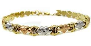 LADIES 14K YELLOW WHITE ROSE GOLD HEART BRACELET