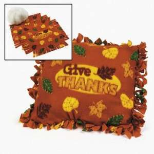 Fleece Give Thanks Tied Pillow Craft Kit   Craft Kits