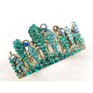 Aqua Blue Czech Crystal Rhinestone Queen Princess Crown Bangle