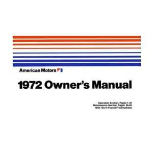 1972 AMC HORNET JAVELIN MATADOR Owners Manual User Guid