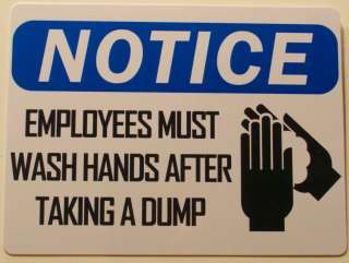 Adult Only Employees Must Wash Hands Plastic Prank Sign
