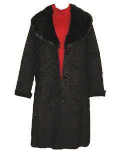 WOMENS WINTER BLACK FAUX FUR COAT JACKET PLUS SIZE W18 1X