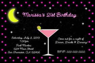 PINK MARTINI COCKTAIL PARTY 21ST BIRTHDAY INVITATIONS