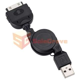 Retractable Black USB Data Sync Charger CABLE CORD WIRE For Iphone 4