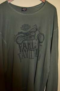 MENS XXL 2XL DARK GREEN WAFFLE LONG SLEEVED MOTORCYCLE T SHIRT