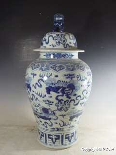 PAIR CHINESE BLUE WHITE PORCELAIN JARS w FOO DOG 30 H