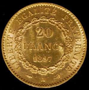 20 Francs Angel Gold Coin About Uncirculated AGW .1867 Net