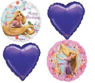 disney RAPUNZEL TANGLED MYLAR BIRTHDAY PARTY BALLOONS heart purple