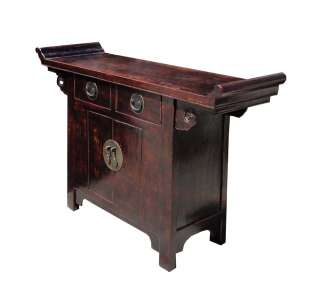 Rustic Brown Lacquer Altar Console Side Table ss595