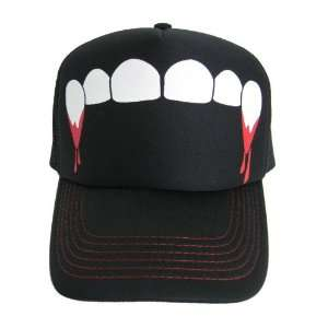 Fangs Teeth Vampire Mesh Trucker Hat Baseball Cap Has