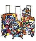 Romero Britto 4 piece Luggage Heys Set GARDEN FLOWERS Carry on Art