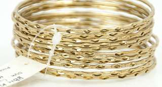 NEW AMRITA SINGH 18k GOLD PLATED JENNIFER CARVED 12 BANGLE BRACELET
