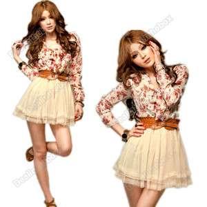 Fashion Women Ladies Chiffon + Tulle Floral Bowtie Tunic Tulle Mini