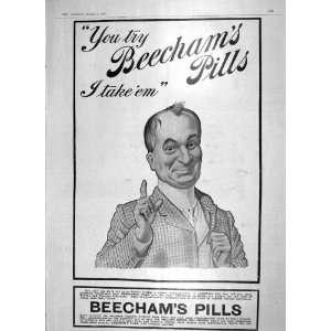 1906 ADVERTISEMENT BEECHAMS PILLS NERVOUS DISORDERS