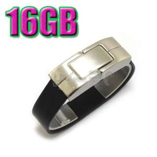16GB Black Bracelet Leather USB 2.0 Flash Memory Drive