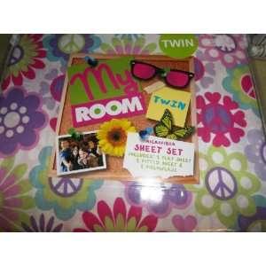 TWIN SHEET SET MY ROOM PINK/PURPLE/GREEN FLOWER PEACE