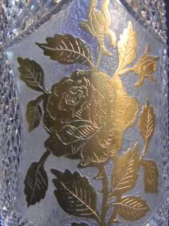 ANTIQUE 30s 10 DIAMOND POINT CUT GLASS VASE W FLOWER