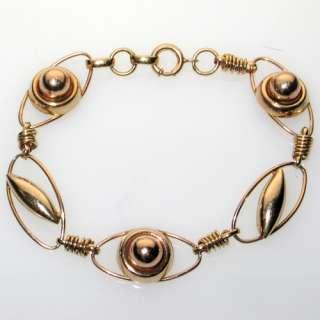 VINTAGE 1920S ART DECO MODERNE 10K GOLD LINKED BRACELET