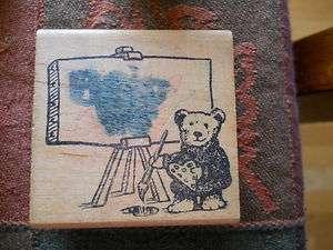 Rubber Stamp Teddy Bear Artist Painter Palette Easel Blank Empty