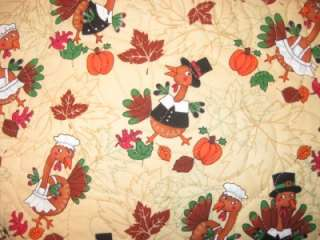 Quilted Table Runner Thanksgiving Turkeys leaves fall pumpkins autumn