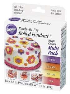 Rolled fondant NEON colors multi PINK YELLOW PURPLE BOX
