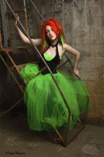 Green Formal Prom Wedding Long Tulle Skirt Gothic Bride