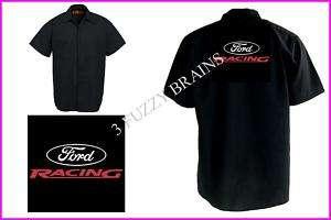 Ford Racing Logo Red Kap Black Work Shirt