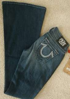 NWT True Religion Carrie weave Embellished Logo jeans in Del Mar